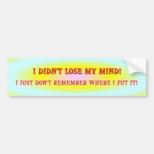 I didn't lose my mind! bumper stickers