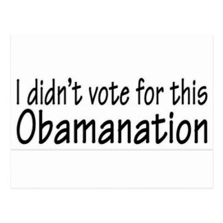 I didn't vote for this Obamanation! Post Card