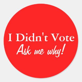 I Didn't Vote Sticker Set