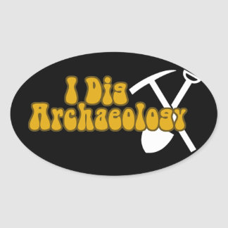 I Dig Archaeology Oval Sticker