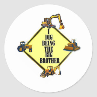 i dig being the Big Brother Classic Round Sticker