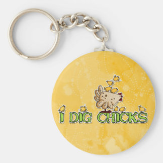 i dig chicks basic round button key ring
