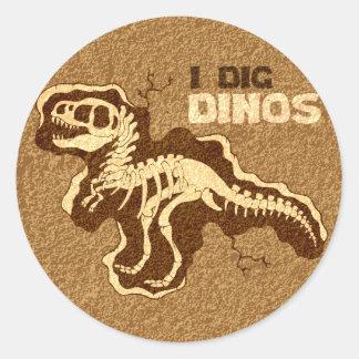 I Dig Dinos Round Sticker