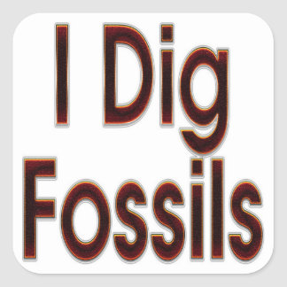 I Dig Fossils Red Square Sticker