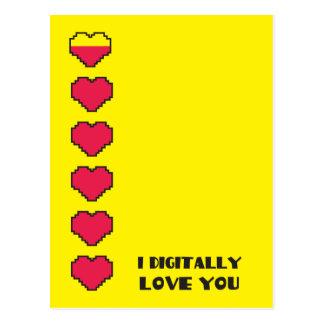I Digital love you Digital hearts Postcard