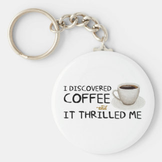 """""""I Discovered Coffee"""" Basic Button Keychain"""