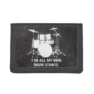 I DO ALL MY OWN DRUM STUNTS TRIFOLD WALLETS