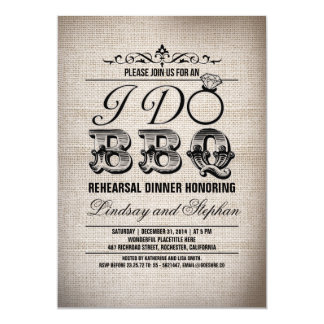 I do BBQ burlap rehearsal dinner invitation