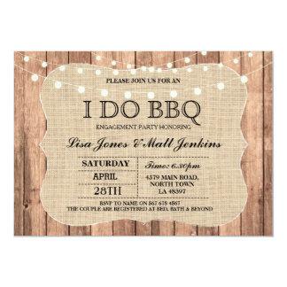 I DO BBQ Burlap Rustic Engagement Invitation