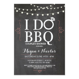 I DO BBQ Chalkboard Coral Engagement Party Invite