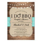 I DO BBQ Couples Shower Lights Gingham Teal Invite