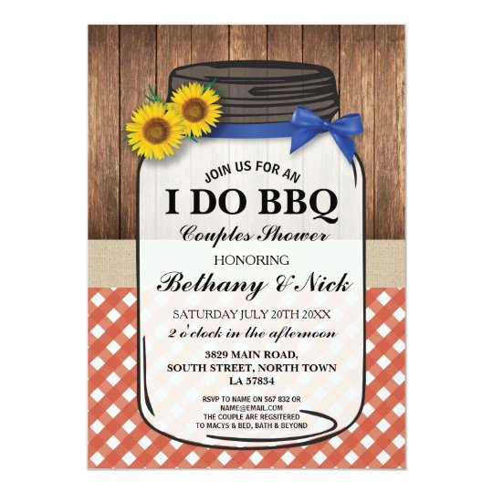 I DO BBQ Couples Showers Rustic Jar Red