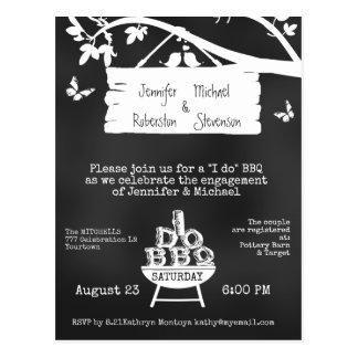 I Do | BBQ | Engagement Chalkboard Postcard