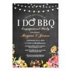 I DO BBQ Engagement Party Peach Floral Invite