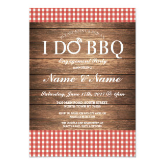 I DO BBQ Engagement Party Red Check Invite
