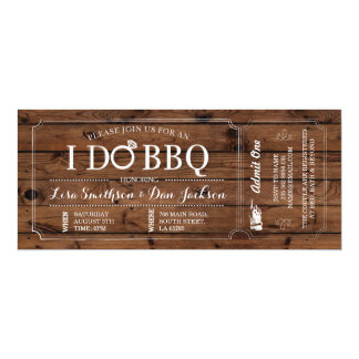 I DO BBQ Engagement Wood Rustic Ticket Invitation