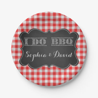 I DO BBQ Rustic Engagement Party Paper Plate