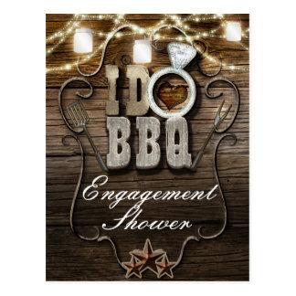 I DO BBQ Rustic Mason Jars Lights Wood Engagement Postcard