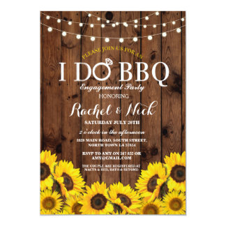 I DO BBQ Sunflower Couples Shower Rustic Invite