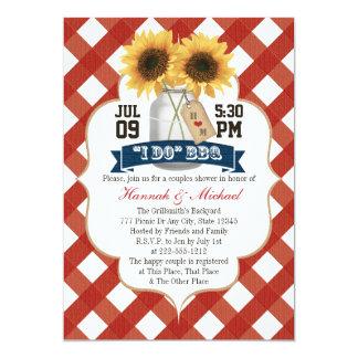 I Do BBQ Sunflower Mason Jar Couples Shower 13 Cm X 18 Cm Invitation Card