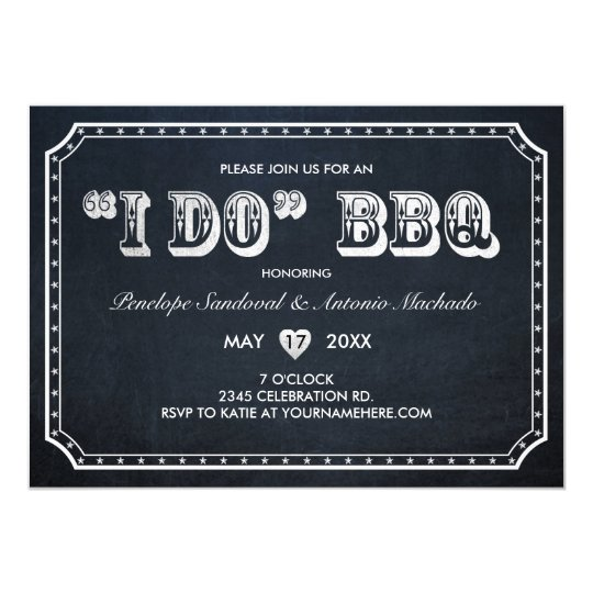 I DO BBQ Vintage Chalkboard Invitations V.2