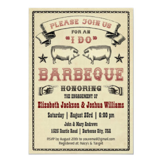 I DO BBQ - Vintage Pig Roast Invitation