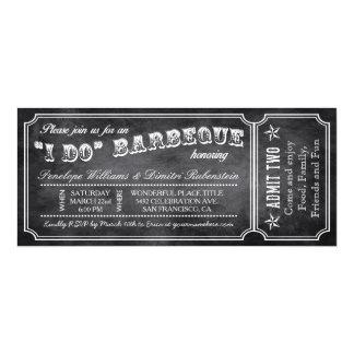 I DO BBQ Vintage Ticket Invitations Chalkboard