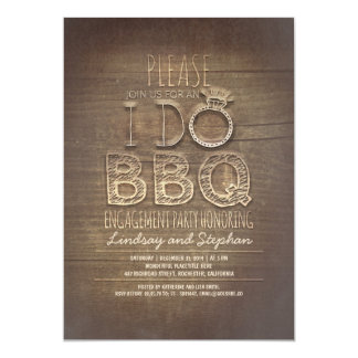 I do BBQ wooden engagement party invitation
