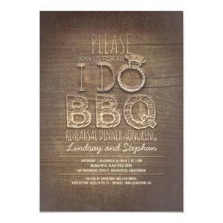 I do BBQ wooden rehearsal dinner invitation