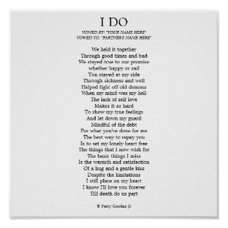 """I DO"" CUSTOMIZABLE POSTER"