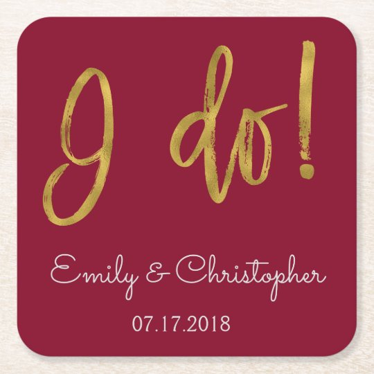 I Do Gold Foil and Burgundy Wedding Coasters