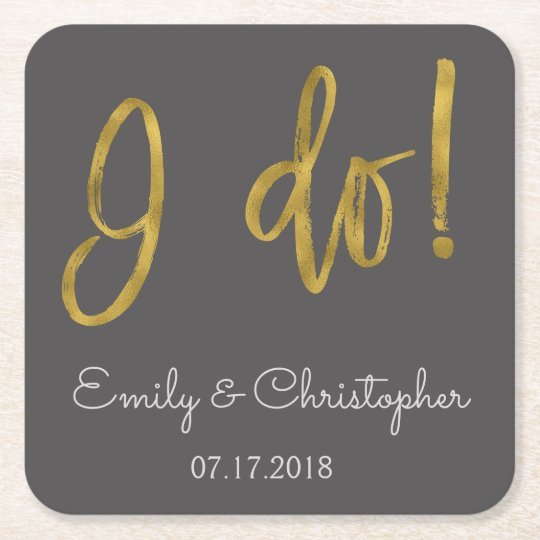 I Do Gold Foil and Charcoal Grey Wedding Coasters