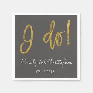 I Do Gold Foil and Charcoal Grey Wedding Napkins Paper Napkin