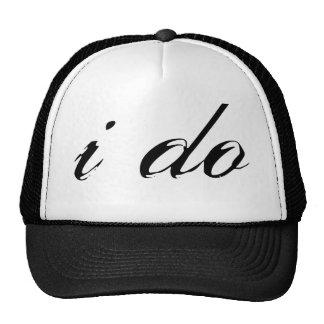 I Do Hat Black on White Mesh Hat