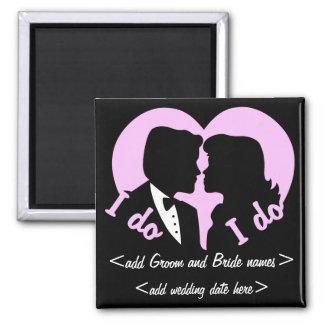 I DO Silhouette Couple Wedding Favor Square Magnet
