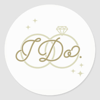I Do Wedding Stickers - Gold and White