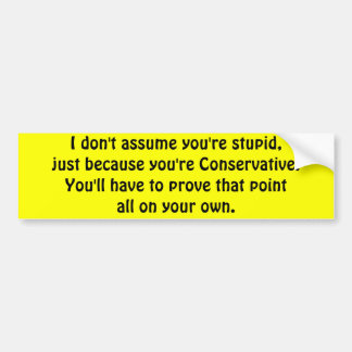 I don t assume you re stupid bumper sticker