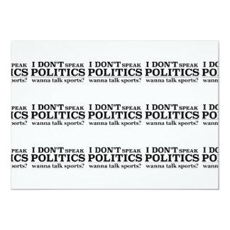 I Don't Speak Politics Wanna Talk Religion 13 Cm X 18 Cm Invitation Card