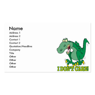 i dont care t-rex temper tantrum pack of standard business cards