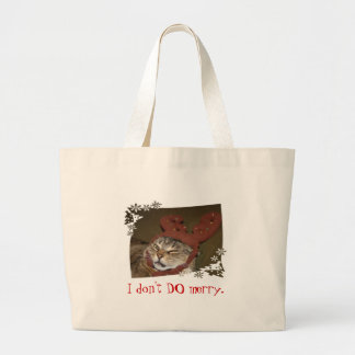 """""""I don't DO merry"""" cat-with-antlers bag"""
