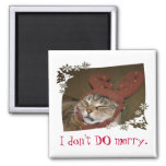 I don't DO merry.  Cat with Antlers Magnet!! Square Magnet