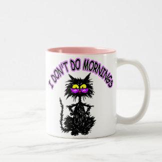 """I Don't Do Mornings"" Cat Gifts Two-Tone Mug"