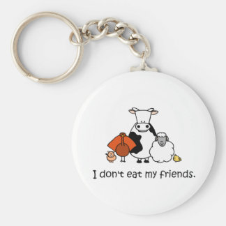 I dont eat my friends basic round button key ring