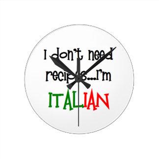 i don't need recipes, i'm italian wall clock