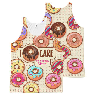 I Donut Care Cute Funny Humorous Sweet Donuts Love All-Over Print Tank Top