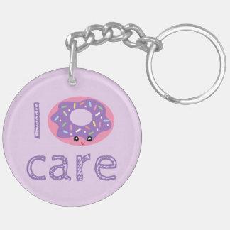 I donut care cute kawaii doughnut pun humor emoji key ring