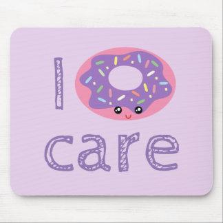 I donut care cute kawaii doughnut pun humor emoji mouse mat