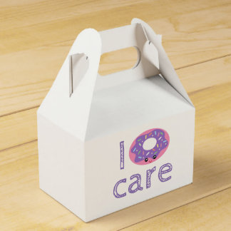 I donut care cute kawaii doughnut pun humor emoji party favour box