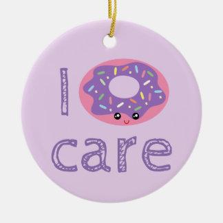 I donut care cute kawaii doughnut pun humor emoji round ceramic decoration