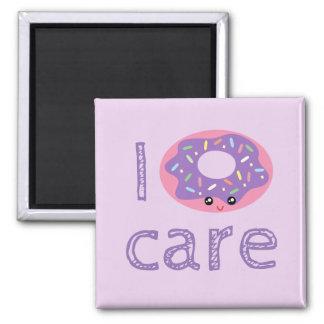 I donut care cute kawaii doughnut pun humor emoji square magnet